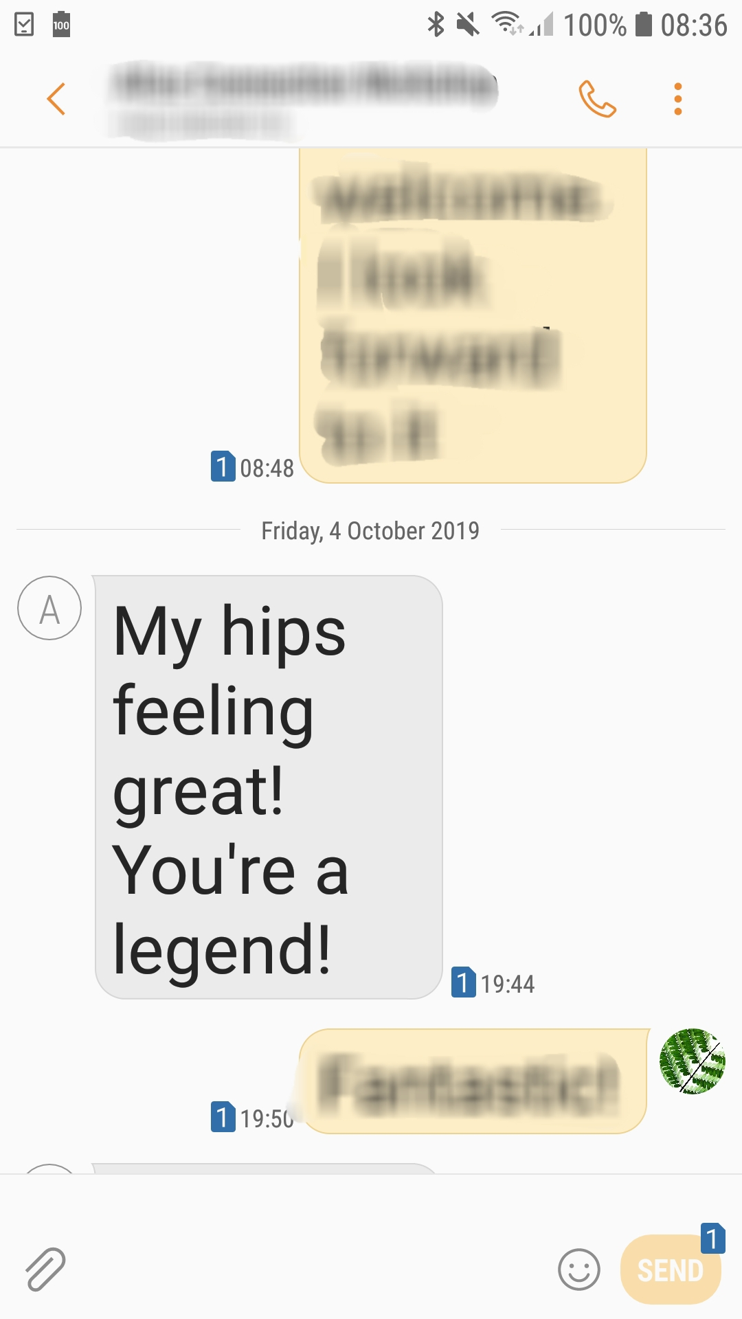 testimonial from my session on hip pain